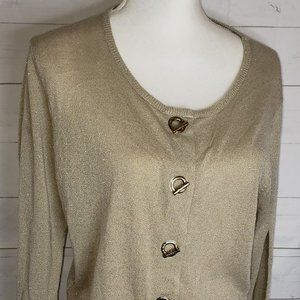 Calvin Klein Metallic Gold Cardigan Sweater Sz XL